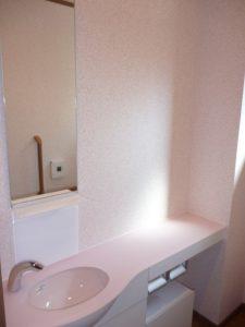 WC横のカウンター<br>カウンターについているカランも自動で水が出ます。写真は載せてませんが、洗面化粧台も1・2階に付いて凄いです。